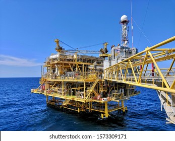 Gulf of Thailand -Nov 28, 2019-Chevron Thailand Offshore Industry oil and gas production platform.