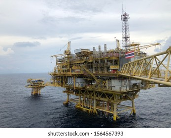 Gulf of Thailand, Thailand, November 19,2019: offshore living quarter or a production platform for oil and gas industry in the middle of the gulf of thailand, platong gas field with gangway and radar