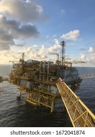 Gulf of Thailand, Thailand:March 13,2020-Offshore Rig Platform in the Middle of Gulf and Offshore oil and gas platform comprised of living quarter, central processing platform and well head platform