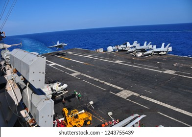 Gulf of Thailand,Thailand 5/8/2011 ,An F-18 fighter jet on the deck of the aircraft carrier USS George Washington.