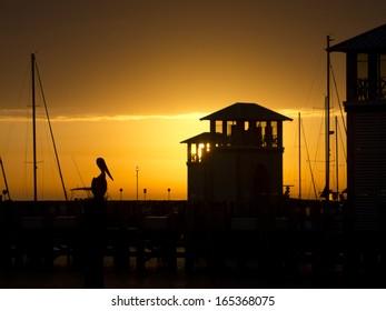 Gulfport Marina Small Craft Harbor Dock with Pelican at Sunrise