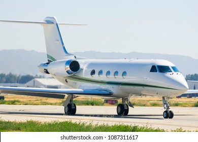 Gulfstream Business Jet Taxiing For Take Off In Van Nuys Airport, California