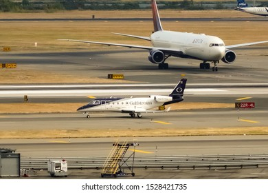 Gulfstream PlaneParts (Gulfstream Customer Support), Gulfstream Aerospace G150 registration N247SP arriving at John F. Kennedy Airport. Queens, New York, USA October 2, 2019.