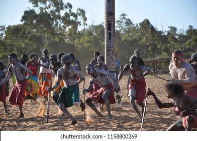 Gulkula, East Arnhem, NT, Australia - August 2010: Yolngu dancers bunggul at Garma Festival 2010