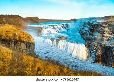 Gullfoss (Golden Fall), a waterfall where is part of the Golden Circle located in the canyon of Olfusa river in southwest Iceland