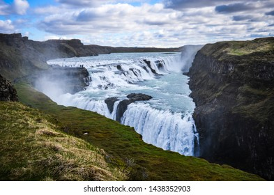 Gullfoss, an iconic waterfall known for its multi-step cascade along a 90° bend of the Hvita River, Iceland