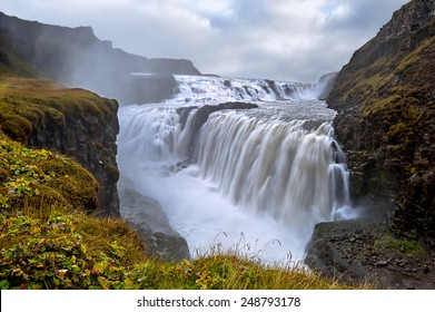 Gullfoss. Waterfall located in the canyon of Hvita river in southwest Iceland.