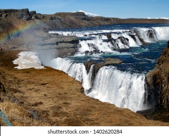 Gullfoss Waterfall with Rainbow, Iceland, located in Iceland in the canyon of the Hvítá river area.