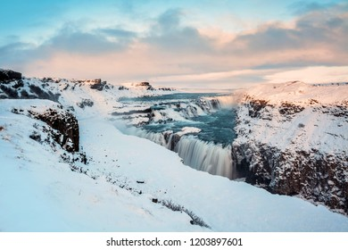 Gullfoss waterfall view in the canyon of the Hvita river during winter snow Iceland
