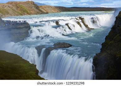 Gullfoss waterfall view in the canyon of the Hvita river  - iceland