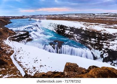 Gullfoss waterfall in Winter, Iceland