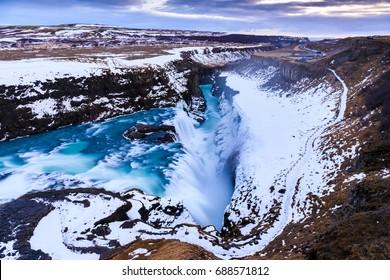 Gullfoss waterfall in Winter(bird's eye view), Iceland