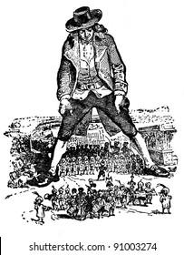 """Gulliver and the Lilliputians,"" engraving of Jean Grandville (France, 1838). Illustration from the book ""Lemuel Gulliver Travels"", (1955, Moscow, USSR, publisher ""Detgiz"")"