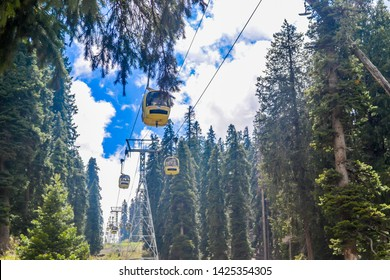 Gulmarg India May 2018 - Rope ways Gandola Cable car in Ski Area of Jammu and Kashmir called 'Paradise on Earth. World's highest cable cars and a popular tourist attraction. Stunning photograph.