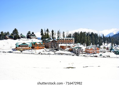 GULMARG, KASHMIR, INDIA - 10 APR 2017 : Hotel New Zam Zam, Hotel Affarwat and The Vintage Gulmarg are hotels that located in the Himalayas at an altitude of 2739 M.