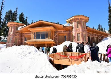 GULMARG, KASHMIR, INDIA - 11 APR 2017 : Cable car station at Gulmarg. It located in the Himalayas at an altitude of 2739 M.