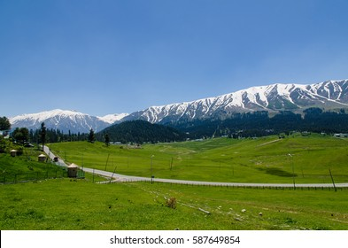 Gulmarg, Kashmir, India - Circa June 2014 - A panoramic shot of Gulmarg located in the states of Jammu and Kashmir, India