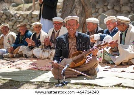 GULMIT VILLAGE, PAKISTAN - APRIL 14:An unidentified people in the Gulmit village, April 14, 2015 in Gulmit Village, Gulmit is the region of Gilgit territory in the Gilgit Baltistan region of Pakistan.