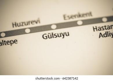 Gulsuyu Station. Istanbul Metro map.