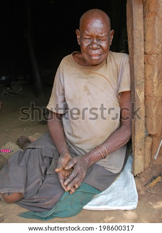 GULU, UGANDA, AFRICA - CIRCA MAY 2005: Unidentified elderly woman circa May 2005 in Uganda, Africa. Uganda is one of the poorest nations in the world and remains challenged by an ongoing civil war.