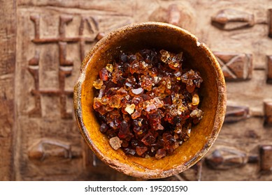 Gum arabic, also known as acacia gum - in bowl