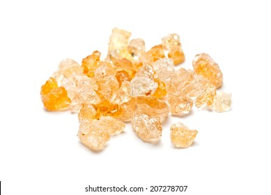 Gum arabic pieces isolated on white background