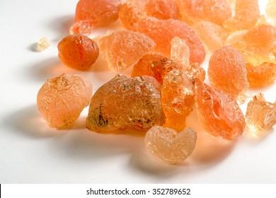 Gum arabic pieces in light back