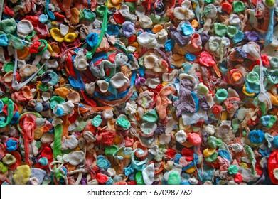 Gum wall in Seattle, Washington.