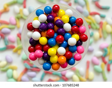 Gumballs with Candy Background
