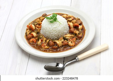 gumbo with crawfish, chicken & sausage, southern food in the united states