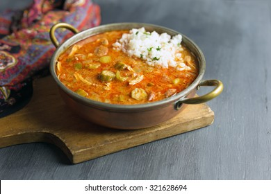 Gumbo with rice.