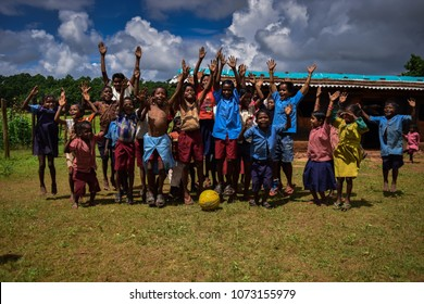 Gumla/India 5 September 2017 School children cheering after football match at Luchtpath, Gumla in Jharkhand,India