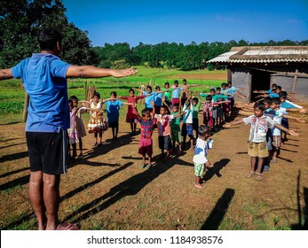 Gumla,Jharkhand -September 01,2018; Picture of morning exerciser by children taken at village school run by NGO at gumla, jharkhand, India.