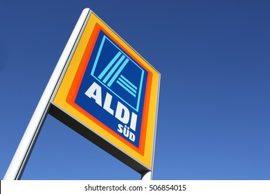 GUMMERSBACH, GERMANY - October 30, 2016: Aldi sign (south division) against blue sky. Aldi is a leading global discount supermarket chain with almost 10,000 stores in 18 countries.