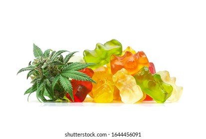 Gummy Bear Medical Marijuana Edibles, Candies Infused with CBD or THC, with Cannabis Bud Isolated on White Background