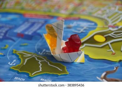 Gummy bear on boat