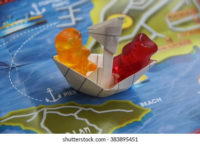 Gummy bear on boat
