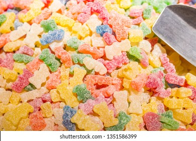 Gummy Bears Candy covered with sour sugar.
