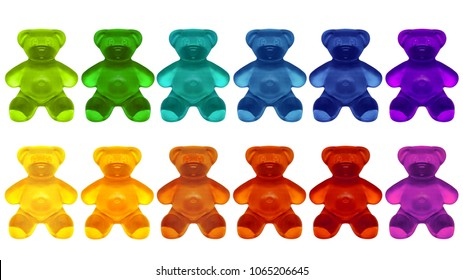 Gummy Colorful on White Background