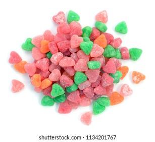 gummy Valentine candy on white background