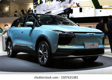Gumpert Aiways U5 SUV in Geneva International Motor Show (GIMS), Geneva Switzerland March 2019. Electric SUV from a Shanghai based car manufacturer. 140 hp and beautiful light blue color.