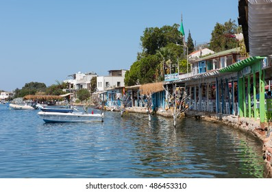 GUMUSLUK - BODRUM, MUGLA, TURKEY - SEPTEMBER 18, 2016: Gumusluk (Myndos), a seaside village and fishing port in Bodrum. Mugla, Turkey.