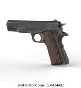 Gun.  3D rendering.