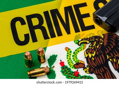 Gun, ammunition, crime scene tape and flag of Mexico. Concept of illegal firearm sales, crime and gun violence.