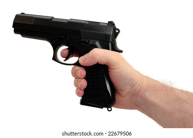 a gun being shot against a white background with clipping path