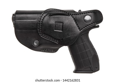 Gun in black leather holster isolate on white background.