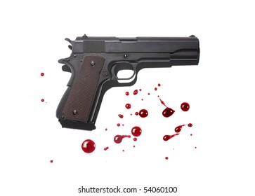 Gun with blood stains