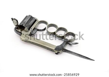 gun brass knuckles mod small bayonet stock photo edit now 25856929
