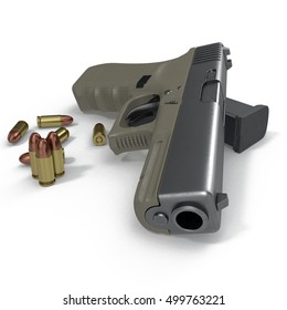 Gun and bullets on a white. 3D illustration