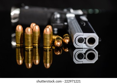gun and bullets,closed up